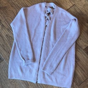 Maurices Pink Lace back Cardigan L really Pretty
